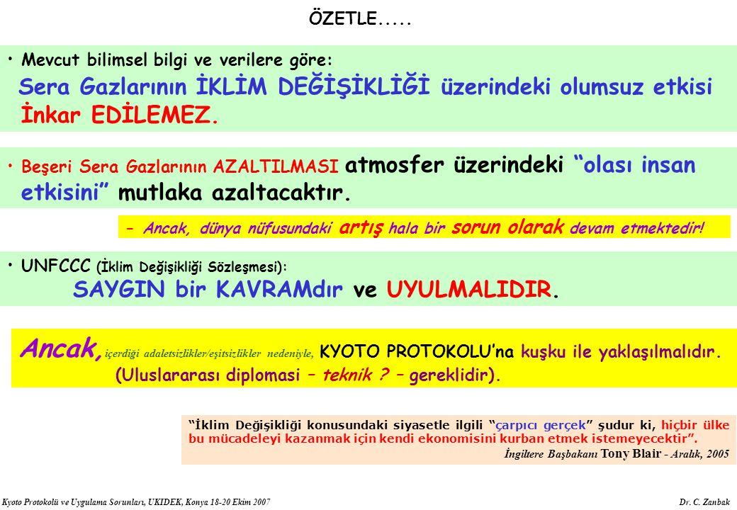Kyoto Protokolü ve Uygulama Sorunları, UKIDEK, Konya 18-20 Ekim 2007 Dr. C. Zanbak ÖZETLE..... Mevcut bilimsel bilgi ve verilere göre: Sera Gazlarının