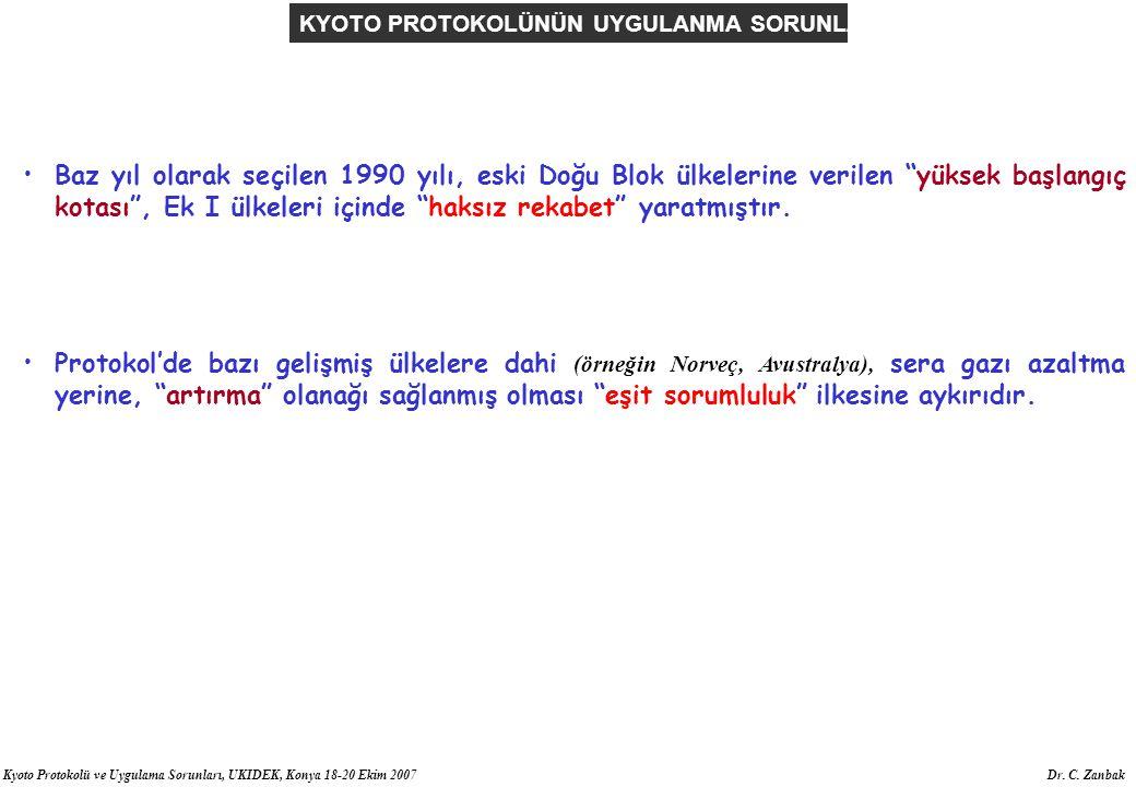Kyoto Protokolü ve Uygulama Sorunları, UKIDEK, Konya 18-20 Ekim 2007 Dr. C. Zanbak Baz yıl olarak seçilen 1990 yılı, eski Doğu Blok ülkelerine verilen