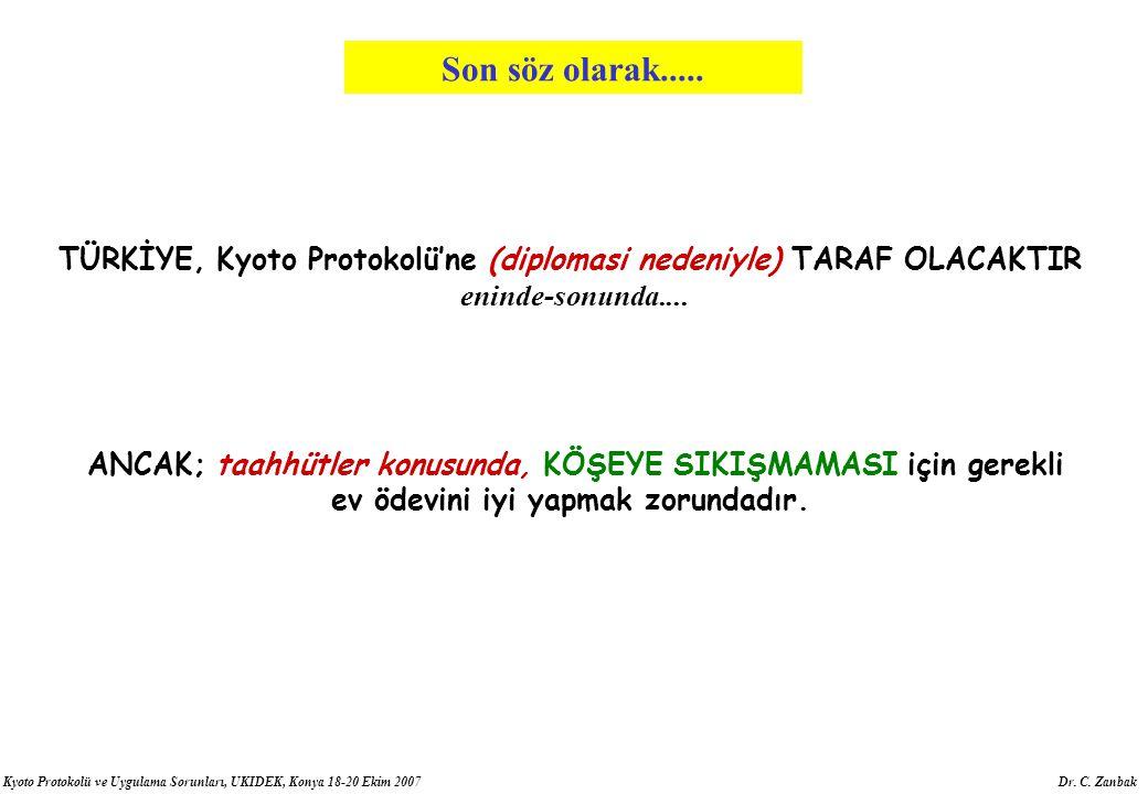 Kyoto Protokolü ve Uygulama Sorunları, UKIDEK, Konya 18-20 Ekim 2007 Dr. C. Zanbak TÜRKİYE, Kyoto Protokolü'ne (diplomasi nedeniyle) TARAF OLACAKTIR e