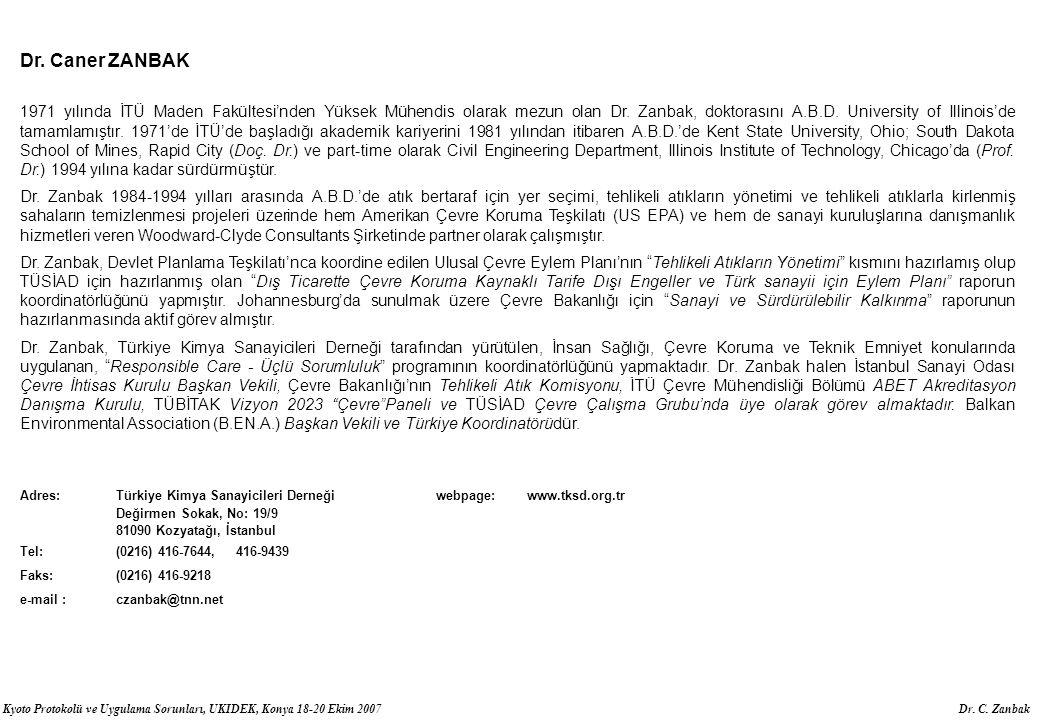 Kyoto Protokolü ve Uygulama Sorunları, UKIDEK, Konya 18-20 Ekim 2007 Dr. C. Zanbak Dr. Caner ZANBAK 1971 yılında İTÜ Maden Fakültesi'nden Yüksek Mühen