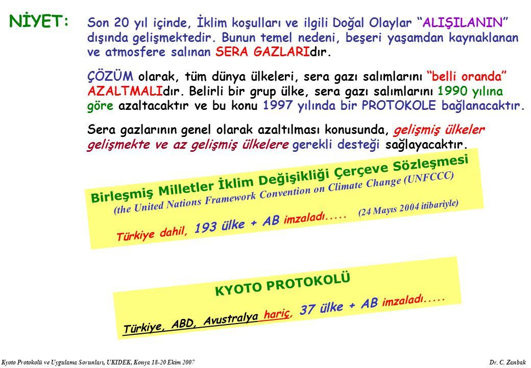 """Kyoto Protokolü ve Uygulama Sorunları, UKIDEK, Konya 18-20 Ekim 2007 Dr. C. Zanbak NİYET: Son 20 yıl içinde, İklim koşulları ve ilgili Doğal Olaylar """""""