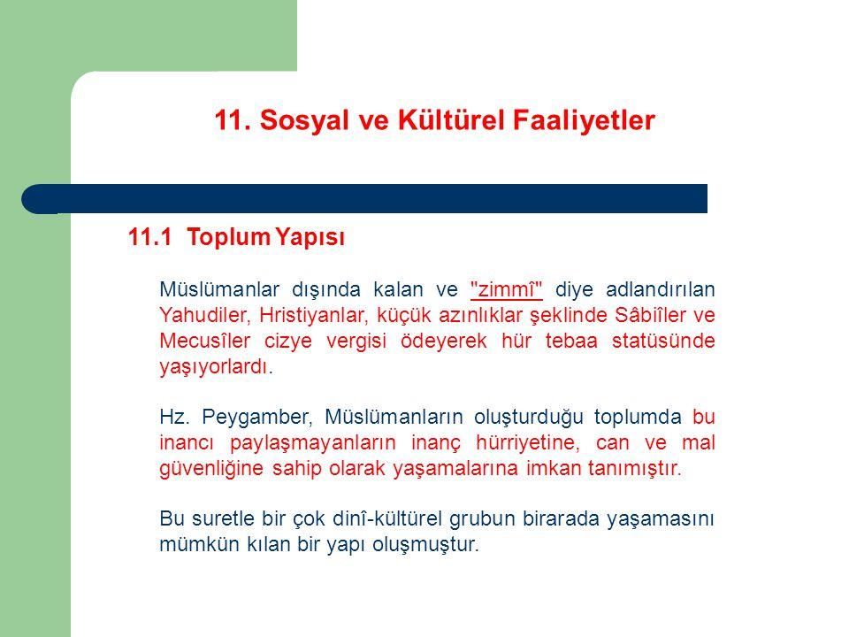 11. Sosyal ve Kültürel Faaliyetler 11.1 Toplum Yapısı Müslümanlar dışında kalan ve
