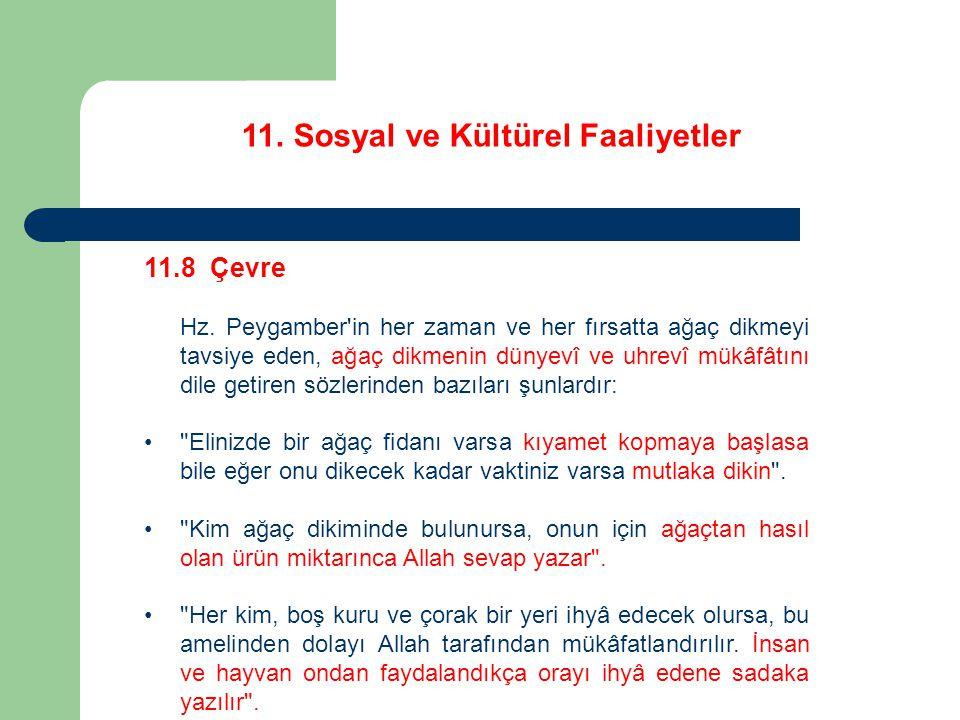 11. Sosyal ve Kültürel Faaliyetler 11.8 Çevre Hz. Peygamber'in her zaman ve her fırsatta ağaç dikmeyi tavsiye eden, ağaç dikmenin dünyevî ve uhrevî mü
