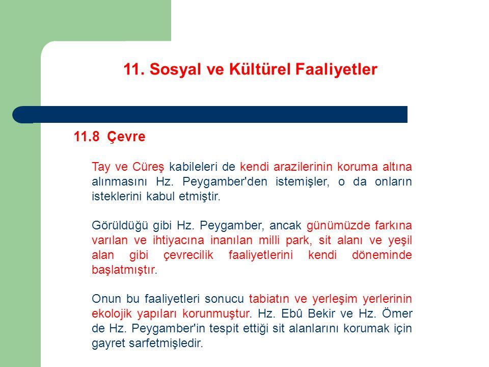 11. Sosyal ve Kültürel Faaliyetler 11.8 Çevre Tay ve Cüreş kabileleri de kendi arazilerinin koruma altına alınmasını Hz. Peygamber'den istemişler, o d