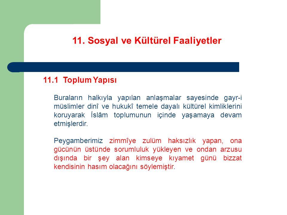 11. Sosyal ve Kültürel Faaliyetler 11.1 Toplum Yapısı Buraların halkıyla yapılan anlaşmalar sayesinde gayr-i müslimler dinî ve hukukî temele dayalı kü