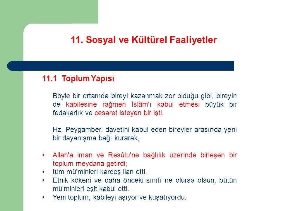 11.Sosyal ve Kültürel Faaliyetler 11.2 Eğitim ve Öğretim Şüphesiz Hz.