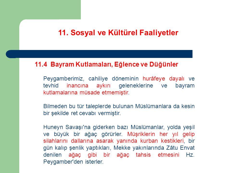 11. Sosyal ve Kültürel Faaliyetler 11.4 Bayram Kutlamaları, Eğlence ve Düğünler Peygamberimiz, cahiliye döneminin hurâfeye dayalı ve tevhid inancına a