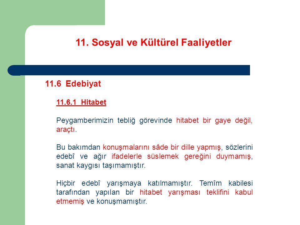 11. Sosyal ve Kültürel Faaliyetler 11.6 Edebiyat 11.6.1 Hitabet Peygamberimizin tebliğ görevinde hitabet bir gaye değil, araçtı. Bu bakımdan konuşmala