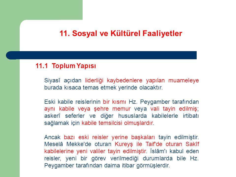 11.Sosyal ve Kültürel Faaliyetler 11.1 Toplum Yapısı Hz.
