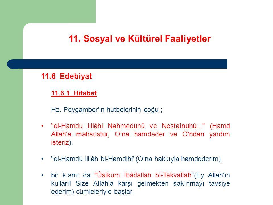 11. Sosyal ve Kültürel Faaliyetler 11.6 Edebiyat 11.6.1 Hitabet Hz. Peygamber'in hutbelerinin çoğu ;