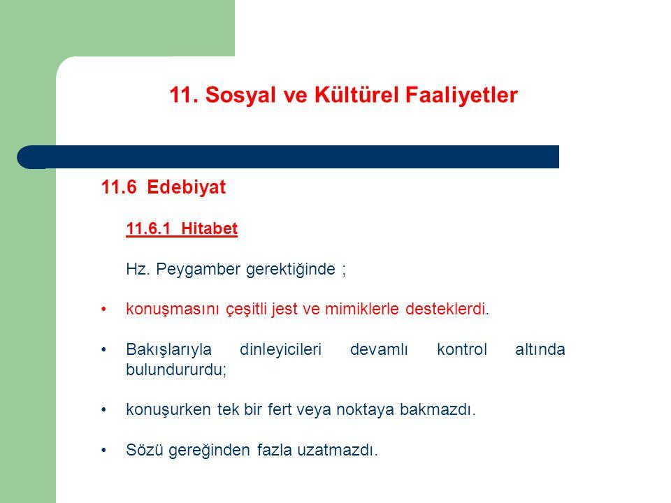 11. Sosyal ve Kültürel Faaliyetler 11.6 Edebiyat 11.6.1 Hitabet Hz. Peygamber gerektiğinde ; konuşmasını çeşitli jest ve mimiklerle desteklerdi. Bakış