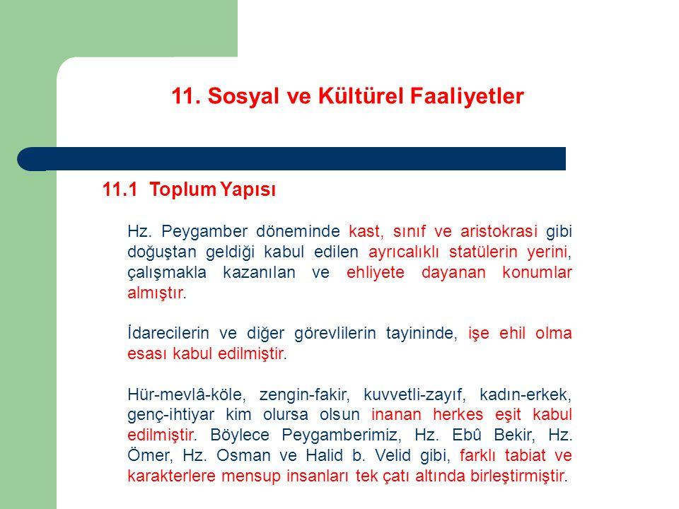 11.Sosyal ve Kültürel Faaliyetler 11.2 Eğitim ve Öğretim Bu ilkeler çerçevesinde Hz.