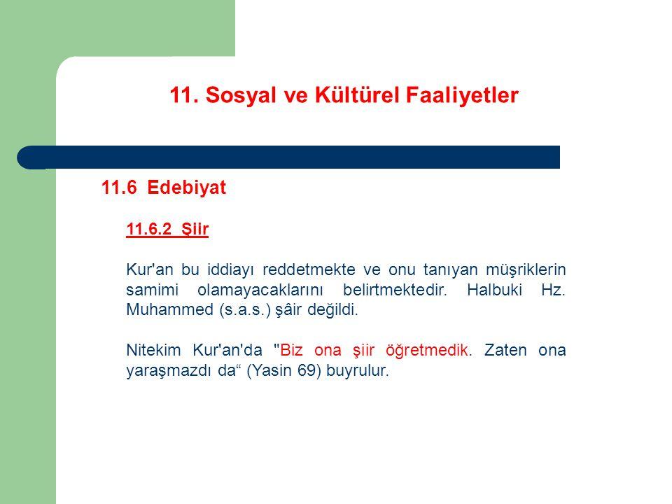 11. Sosyal ve Kültürel Faaliyetler 11.6 Edebiyat 11.6.2 Şiir Kur'an bu iddiayı reddetmekte ve onu tanıyan müşriklerin samimi olamayacaklarını belirtme