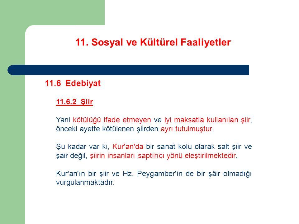 11. Sosyal ve Kültürel Faaliyetler 11.6 Edebiyat 11.6.2 Şiir Yani kötülüğü ifade etmeyen ve iyi maksatla kullanılan şiir, önceki ayette kötülenen şiir