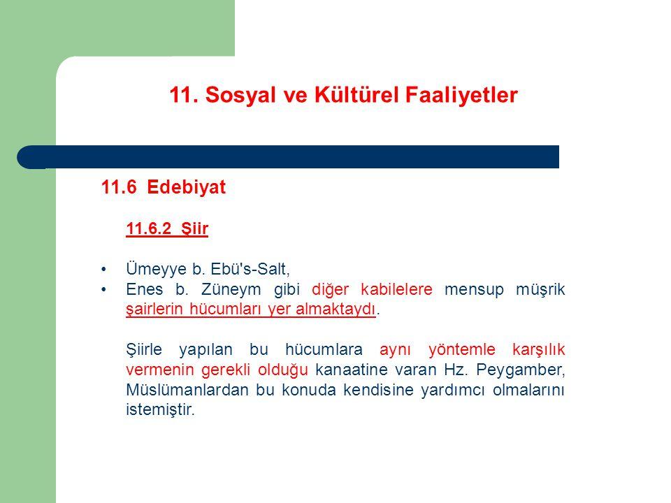 11. Sosyal ve Kültürel Faaliyetler 11.6 Edebiyat 11.6.2 Şiir Ümeyye b. Ebü's-Salt, Enes b. Züneym gibi diğer kabilelere mensup müşrik şairlerin hücuml