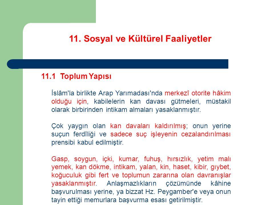 11.Sosyal ve Kültürel Faaliyetler 11.2 Eğitim ve Öğretim Hicretten sonra Medine de Hz.