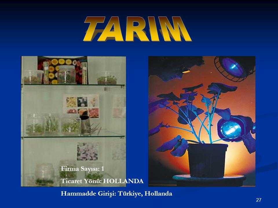 27 Firma Sayısı: 1 Ticaret Yönü: HOLLANDA Hammadde Girişi: Türkiye, Hollanda