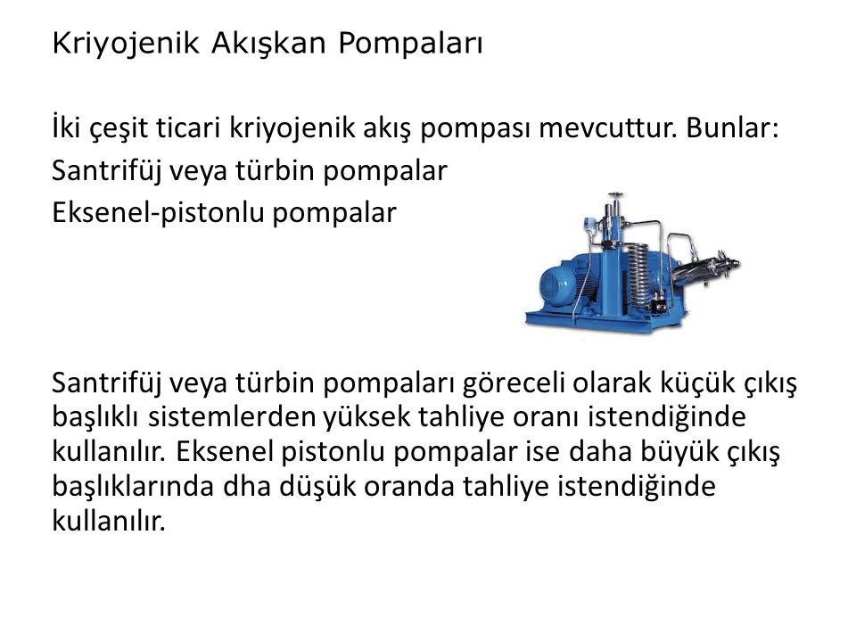 Kriyojenik Akışkan Pompaları İki çeşit ticari kriyojenik akış pompası mevcuttur. Bunlar: Santrifüj veya türbin pompalar Eksenel-pistonlu pompalar Sant