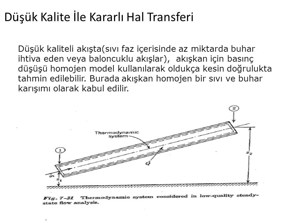 Düşük Kalite İle Kararlı Hal Transferi Düşük kaliteli akışta(sıvı faz içerisinde az miktarda buhar ihtiva eden veya baloncuklu akışlar), akışkan için