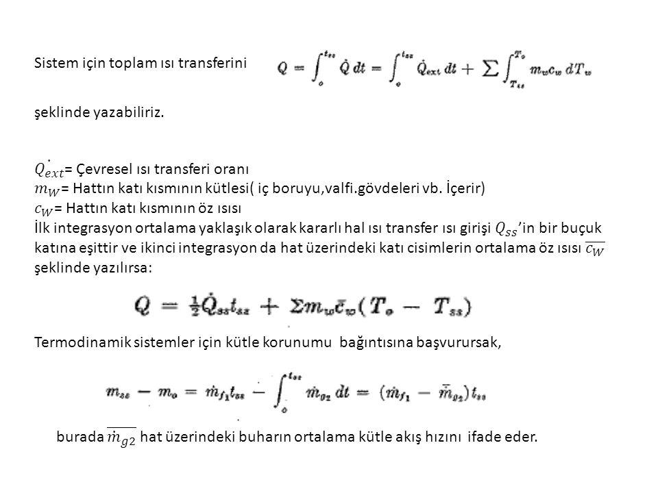Sistem için toplam ısı transferini şeklinde yazabiliriz. Termodinamik sistemler için kütle korunumu bağıntısına başvurursak,