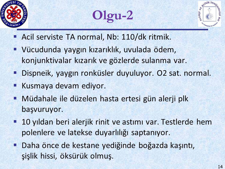 14 Olgu-2  Acil serviste TA normal, Nb: 110/dk ritmik.  Vücudunda yaygın kızarıklık, uvulada ödem, konjunktivalar kızarık ve gözlerde sulanma var. 
