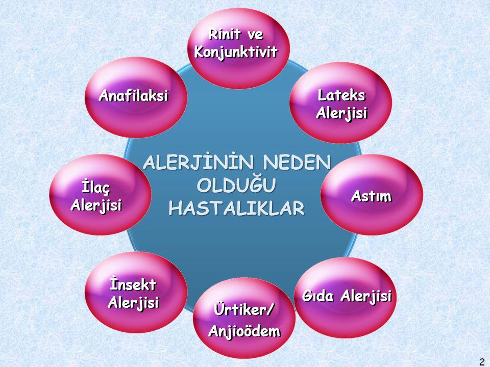 2 Lateks Alerjisi Astım Gıda Alerjisi Anafilaksi İlaç Alerjisi İnsekt Alerjisi Rinit ve Konjunktivit ALERJİNİN NEDEN OLDUĞU HASTALIKLAR Ürtiker/ Anjio