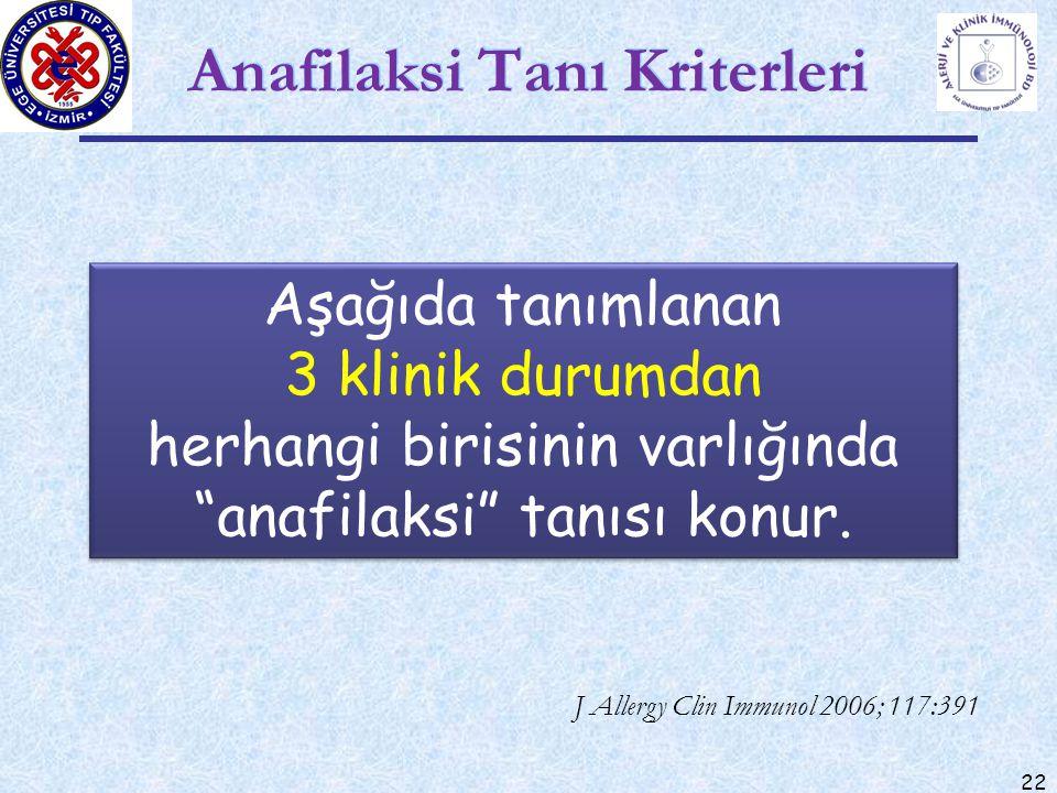 """22 Anafilaksi Tanı Kriterleri J Allergy Clin Immunol 2006; 117:391 Aşağıda tanımlanan 3 klinik durumdan herhangi birisinin varlığında """"anafilaksi"""" tan"""
