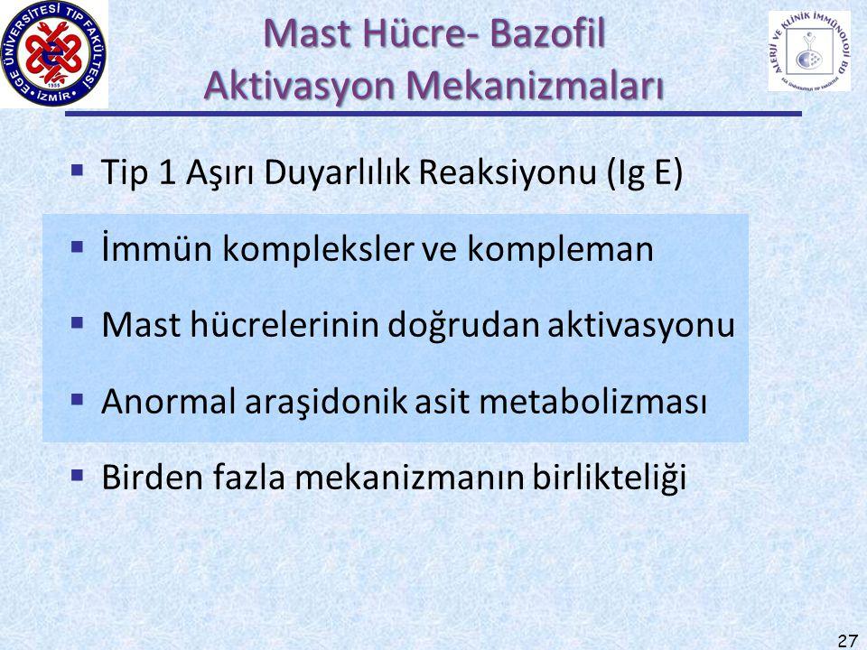 27  Tip 1 Aşırı Duyarlılık Reaksiyonu (Ig E)  İmmün kompleksler ve kompleman  Mast hücrelerinin doğrudan aktivasyonu  Anormal araşidonik asit meta