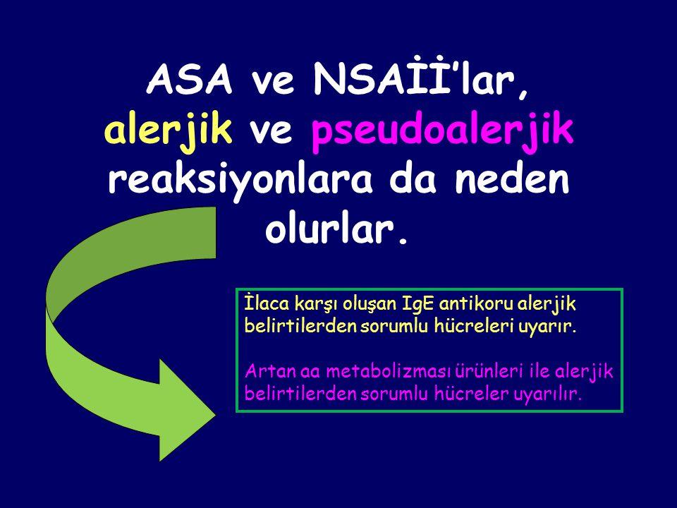 ASA ve NSAİİ'lar, alerjik ve pseudoalerjik reaksiyonlara da neden olurlar. İlaca karşı oluşan IgE antikoru alerjik belirtilerden sorumlu hücreleri uya