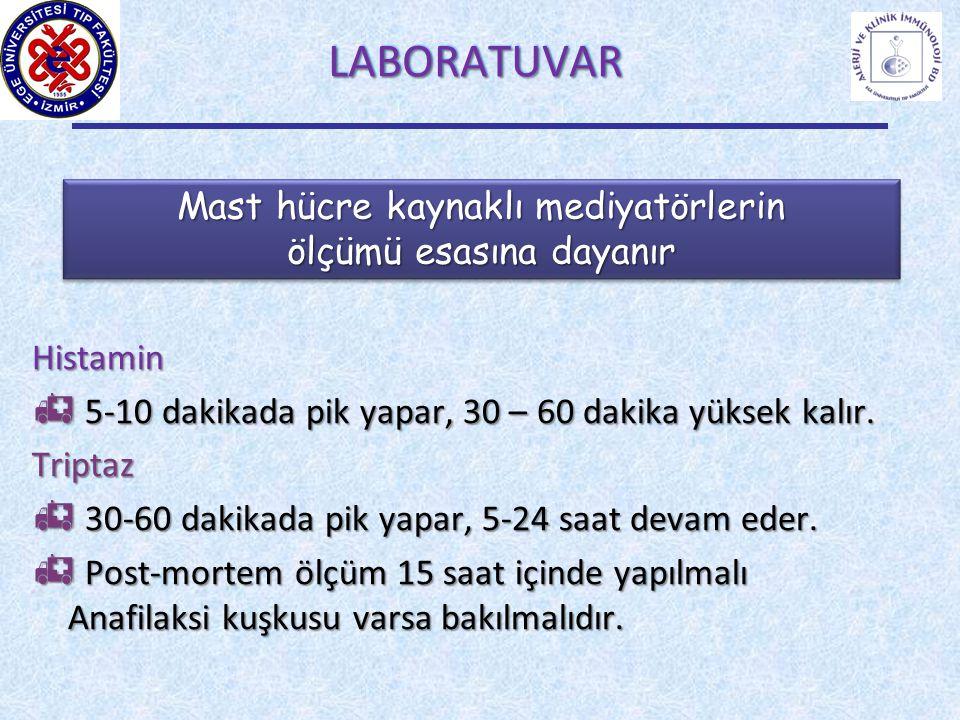 LABORATUVARLABORATUVARHistamin  5 5 5 5-10 dakikada pik yapar, 30 – 60 dakika yüksek kalır. Triptaz  3 3 3 30-60 dakikada pik yapar, 5-24 saat