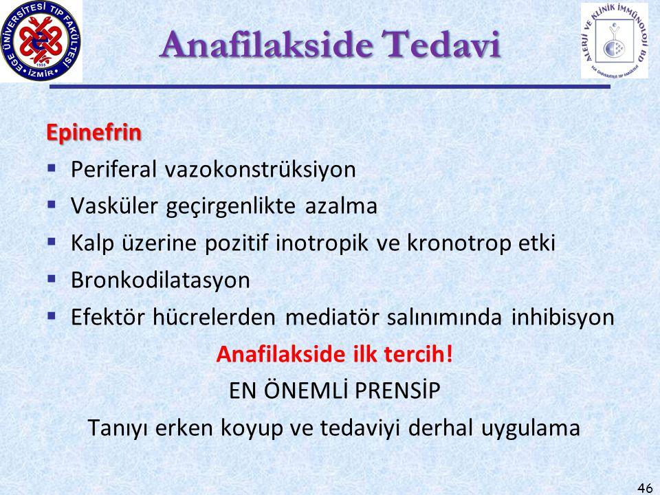46 Anafilakside Tedavi Epinefrin  Periferal vazokonstrüksiyon  Vasküler geçirgenlikte azalma  Kalp üzerine pozitif inotropik ve kronotrop etki  Br