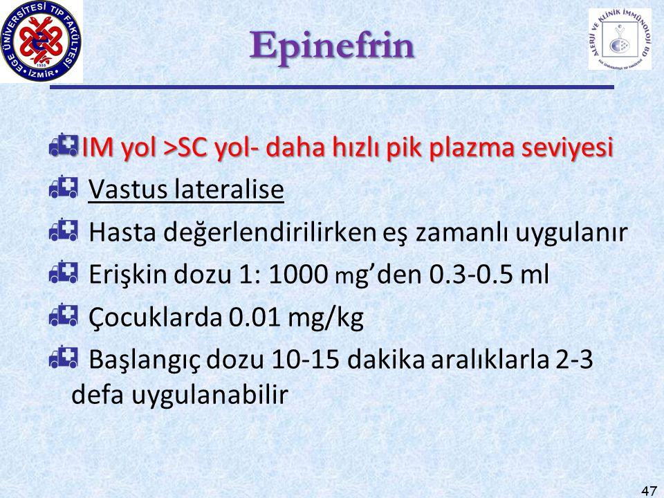 47 EpinefrinEpinefrin  IM yol >SC yol- daha hızlı pik plazma seviyesi  Vastus lateralise  Hasta değerlendirilirken eş zamanlı uygulanır  Erişkin d