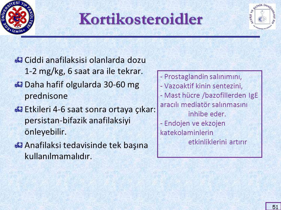 51 KortikosteroidlerKortikosteroidler  Ciddi anafilaksisi olanlarda dozu 1-2 mg/kg, 6 saat ara ile tekrar.  Daha hafif olgularda 30-60 mg prednisone