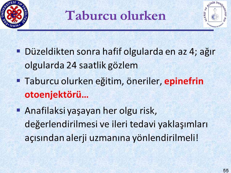 55 Taburcu olurken  Düzeldikten sonra hafif olgularda en az 4; ağır olgularda 24 saatlik gözlem  Taburcu olurken eğitim, öneriler, epinefrin otoenje