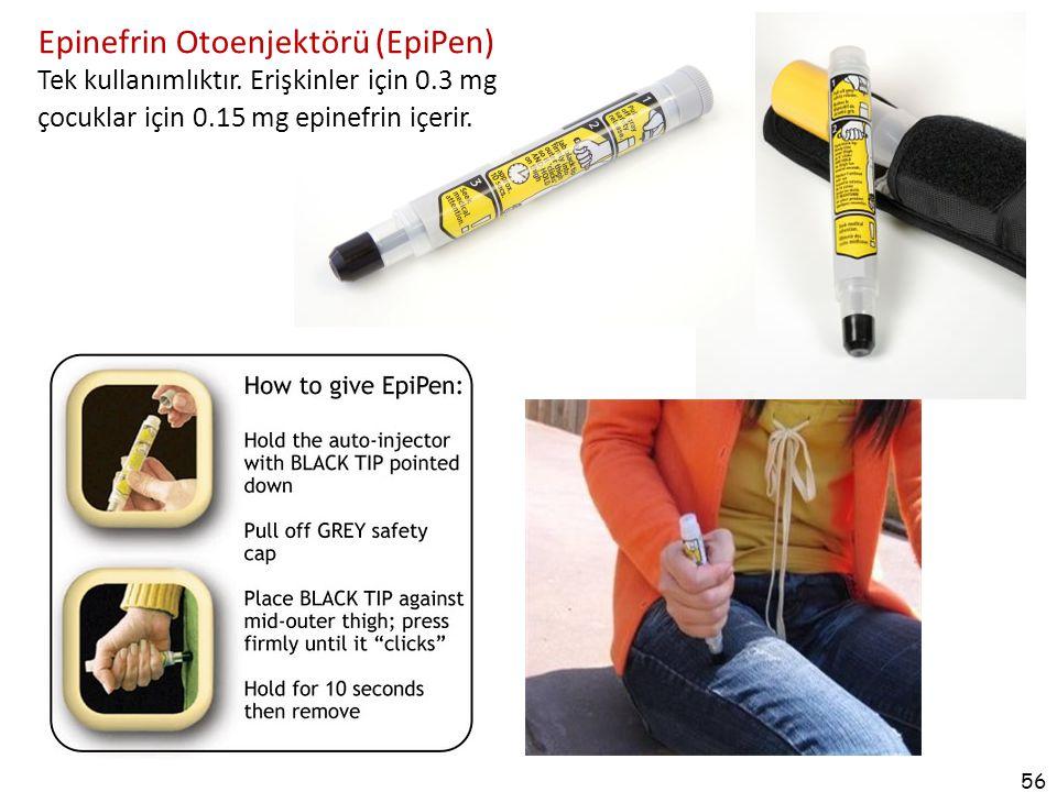 56 Epinefrin Otoenjektörü (EpiPen) Tek kullanımlıktır. Erişkinler için 0.3 mg çocuklar için 0.15 mg epinefrin içerir.