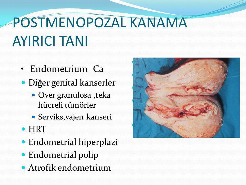 POSTMENOPOZAL KANAMA AYIRICI TANI Diğer genital kanserler Over granulosa,teka hücreli tümörler Serviks,vajen kanseri HRT Endometrial hiperplazi Endometrial polip Atrofik endometrium Hematuri yapan nedenler Hemoroid Üretral karünkül Travma Postkoital Senil vajinit Endometrium Ca