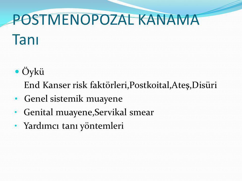 POSTMENOPOZAL KANAMA Tanı Öykü End Kanser risk faktörleri,Postkoital,Ateş,Disüri Genel sistemik muayene Genital muayene,Servikal smear Yardımcı tanı yöntemleri