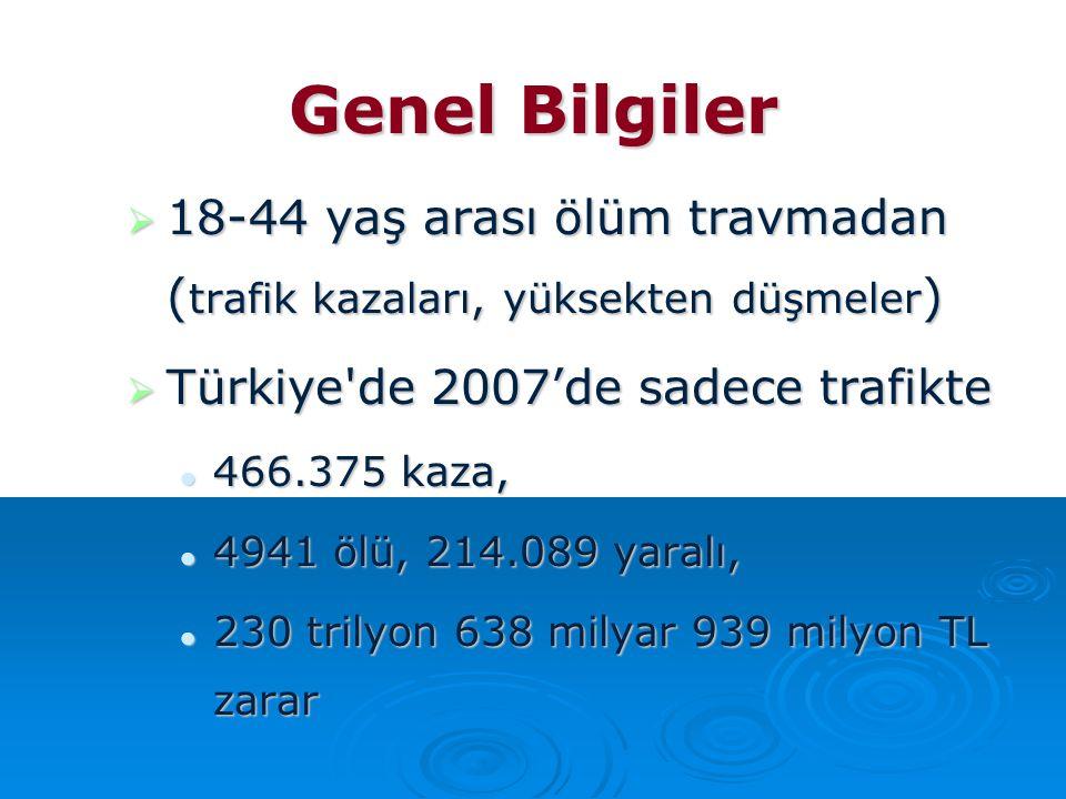 Genel Bilgiler  18-44 yaş arası ölüm travmadan ( trafik kazaları, yüksekten düşmeler )  Türkiye'de 2007'de sadece trafikte 466.375 kaza, 466.375 kaz