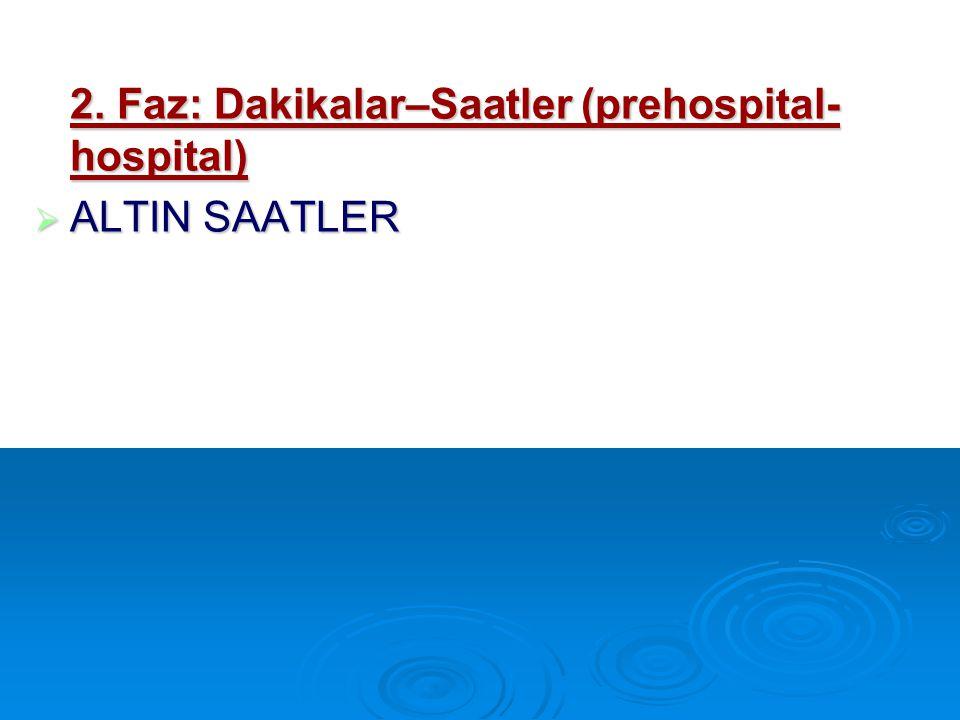 2. Faz: Dakikalar–Saatler (prehospital- hospital)  ALTIN SAATLER
