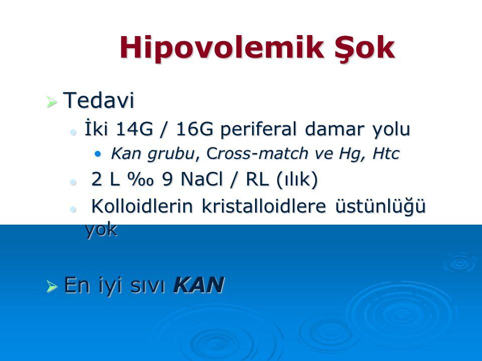 Hipovolemik Şok  Tedavi İki 14G / 16G periferal damar yolu İki 14G / 16G periferal damar yolu Kan grubu, Cross-match ve Hg, Htc Kan grubu, Cross-matc