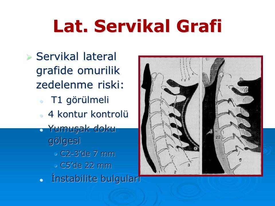 Lat. Servikal Grafi  Servikal lateral grafide omurilik zedelenme riski: T1 görülmeli T1 görülmeli 4 kontur kontrolü 4 kontur kontrolü Yumuşak doku gö