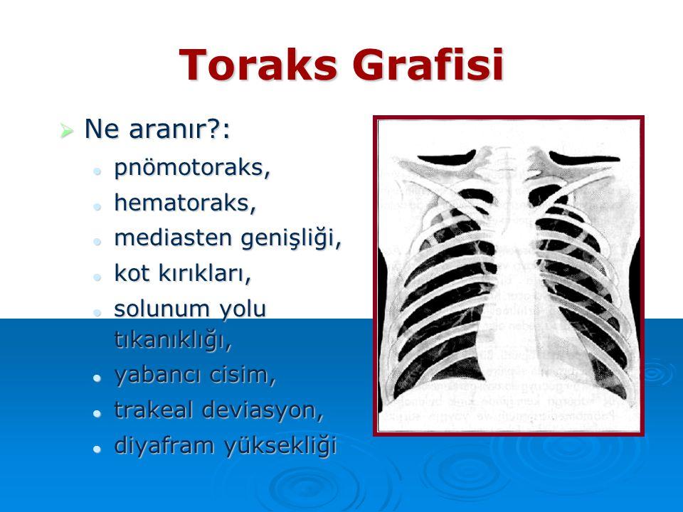 Toraks Grafisi  Ne aranır?: pnömotoraks, pnömotoraks, hematoraks, hematoraks, mediasten genişliği, mediasten genişliği, kot kırıkları, kot kırıkları,