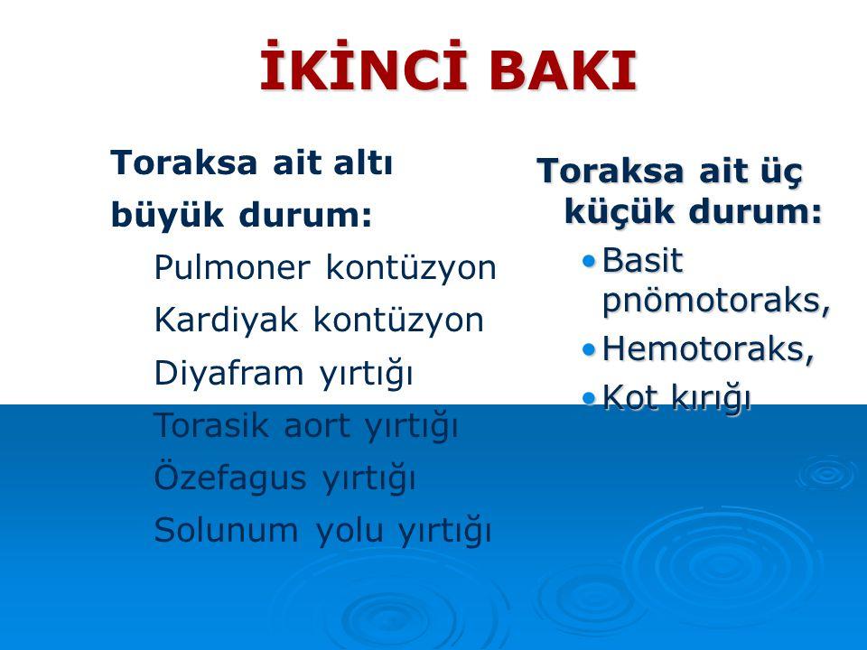 İKİNCİ BAKI Toraksa ait üç küçük durum: Basit pnömotoraks,Basit pnömotoraks, Hemotoraks,Hemotoraks, Kot kırığıKot kırığı Toraksa ait altı büyük durum:
