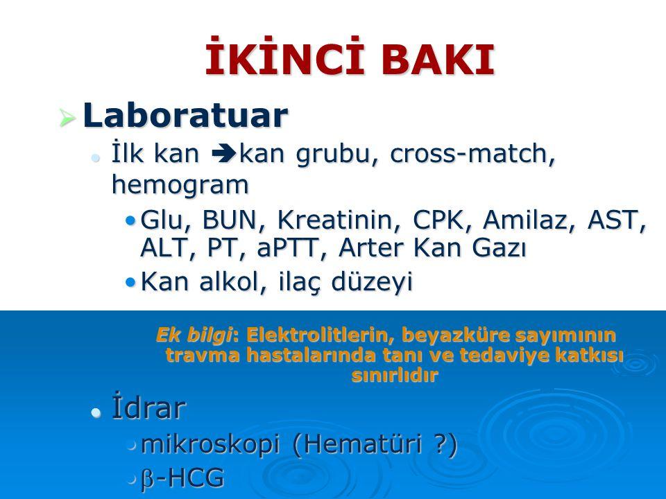 İKİNCİ BAKI  Laboratuar İlk kan  kan grubu, cross-match, hemogram İlk kan  kan grubu, cross-match, hemogram Glu, BUN, Kreatinin, CPK, Amilaz, AST,