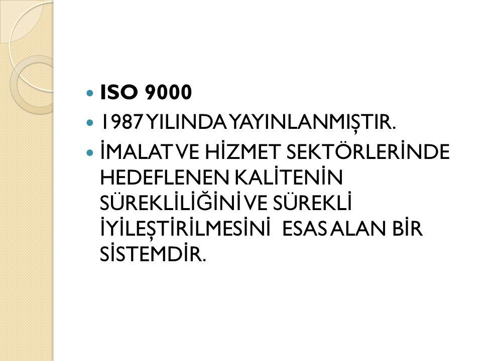 ISO 9000 1987 YILINDA YAYINLANMIŞTIR. İ MALAT VE H İ ZMET SEKTÖRLER İ NDE HEDEFLENEN KAL İ TEN İ N SÜREKL İ L İĞİ N İ VE SÜREKL İ İ Y İ LEŞT İ R İ LME