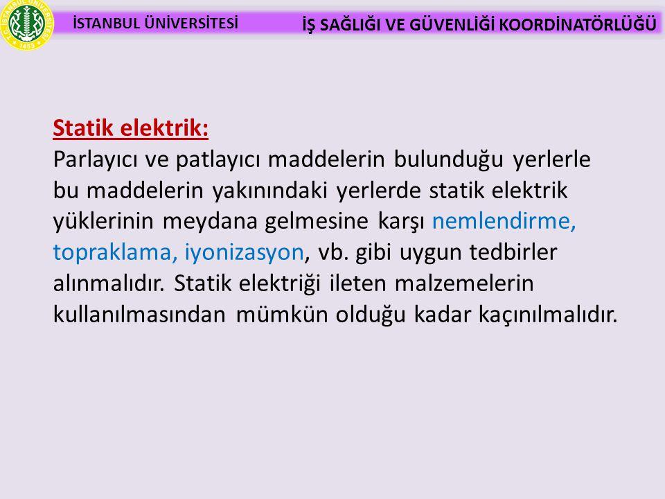 İSTANBUL ÜNİVERSİTESİ İŞ SAĞLIĞI VE GÜVENLİĞİ KOORDİNATÖRLÜĞÜ Statik elektrik: Parlayıcı ve patlayıcı maddelerin bulunduğu yerlerle bu maddelerin yakı