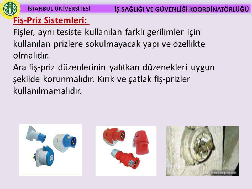 İSTANBUL ÜNİVERSİTESİ İŞ SAĞLIĞI VE GÜVENLİĞİ KOORDİNATÖRLÜĞÜ Fiş-Priz Sistemleri: Fişler, aynı tesiste kullanılan farklı gerilimler için kullanılan p