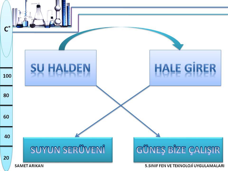 20 40 60 80 100 SAMET ARIKAN5.SINIF FEN VE TEKNOLOJİ UYGULAMALARI C˚ SU HALDEN HALE GİRER  Su; katı, sıvı, gaz olmak üzere üç halde bulunur.