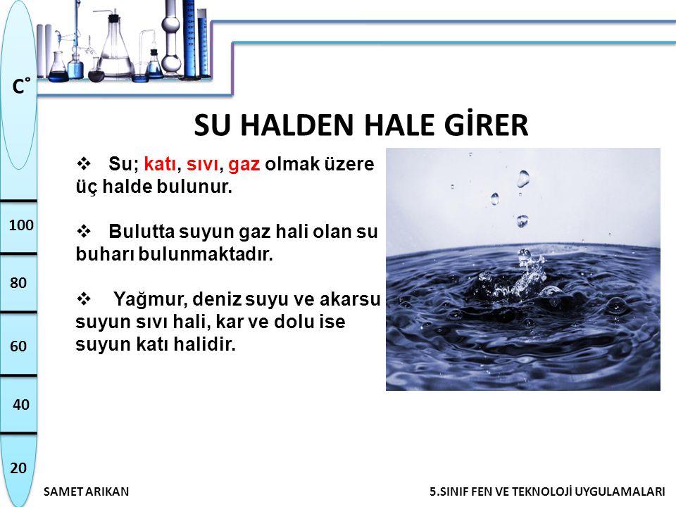 20 40 60 80 100 SAMET ARIKAN5.SINIF FEN VE TEKNOLOJİ UYGULAMALARI C˚ SU HALDEN HALE GİRER  Su; katı, sıvı, gaz olmak üzere üç halde bulunur.  Bulutt