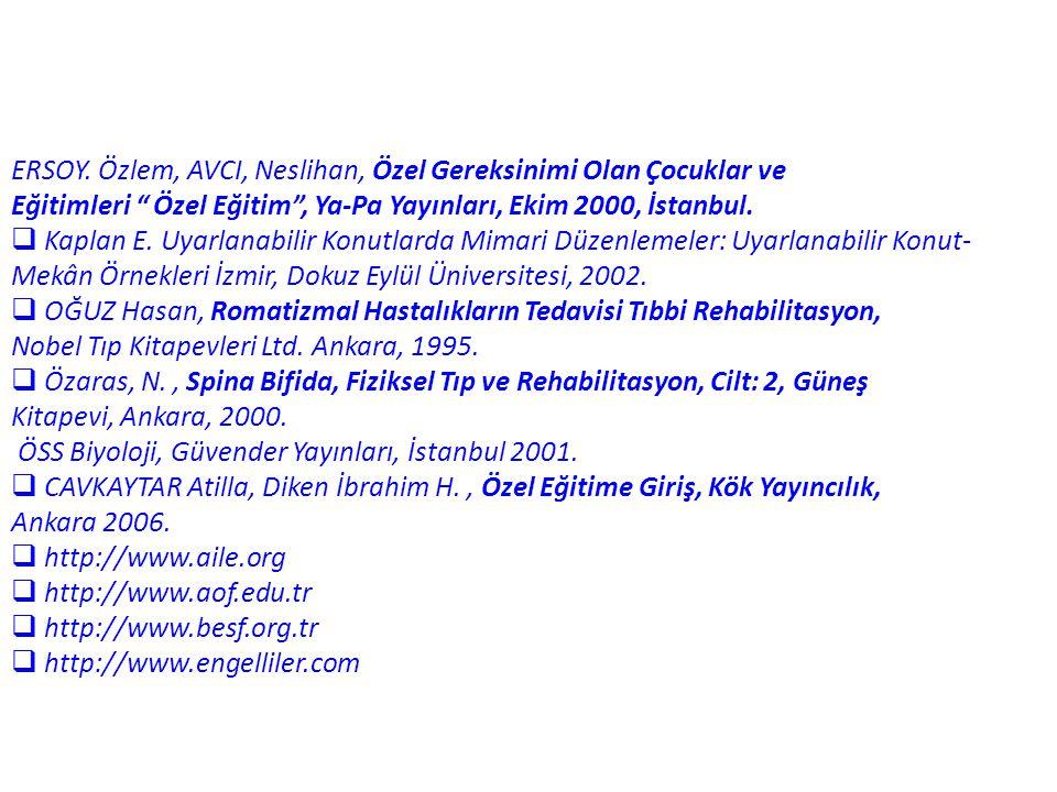 """ERSOY. Özlem, AVCI, Neslihan, Özel Gereksinimi Olan Çocuklar ve Eğitimleri """" Özel Eğitim"""", Ya-Pa Yayınları, Ekim 2000, İstanbul.  Kaplan E. Uyarlanab"""